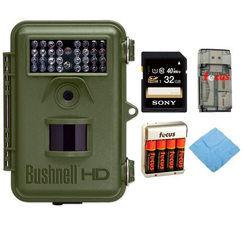 Bushnell 119438 NatureView 8MP Cam HD Trail Camera w/ Night Vision + Rechargeable AA Batteries w/