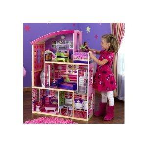 Kidkraft Wooden Modern Dream Glitter Doll ドールhouse fits Barbie バービー