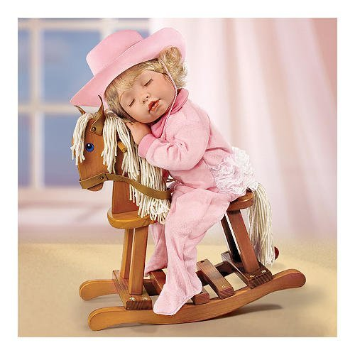Stella Kuleva Ridin' To Dreamland Collectible Little Girl Doll With Wooden Rocking Horse by Ashton