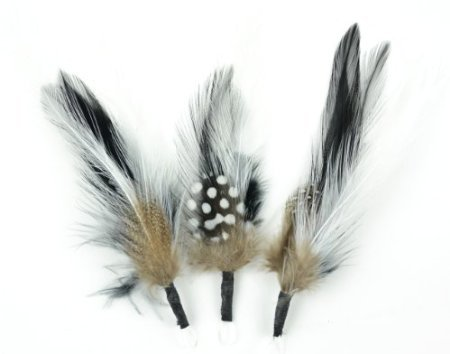Touch of Nature 3-Piece Feather Pick with Nylon Loop for Arts and Crafts, 5-Inch, Black/White