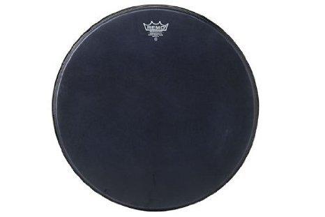 Remo 黒 Suede PowerMax Marching バスドラムヘッド matte 黒 30