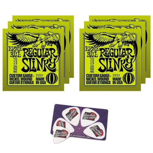 Ernie Ball (アーニーボール) 2221 Regular Slinky String Set (10 - 46) エレキギター 弦 - 6 パック ピ