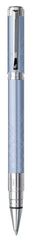 Waterman Perspective Gift Box includes Fine Nib Chrome Trim Roller Ball Pen - Light Blue Lacquer/