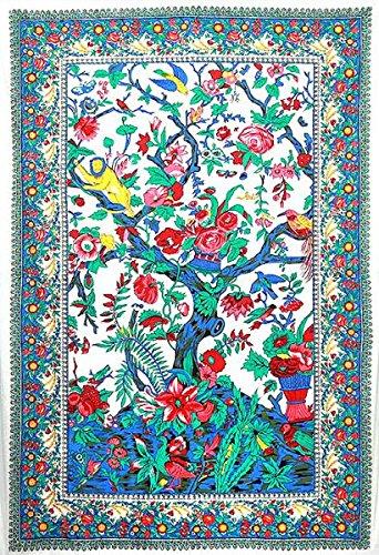生命の樹 キャンディーツリー インドタペストリー サイズ 152×228cm  ビーチシート - 壁掛けタペス