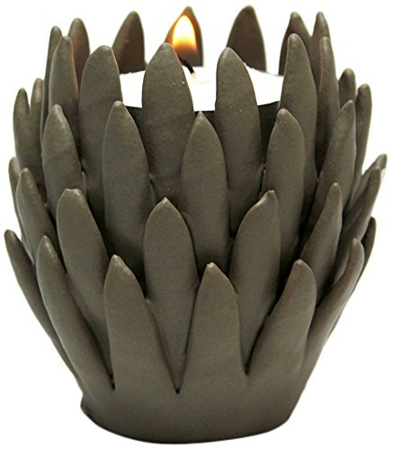 Design Toscano Kosa 3-Inch Brown Hand-Crafted Ceramic Candleholder, Gray, Set of 2