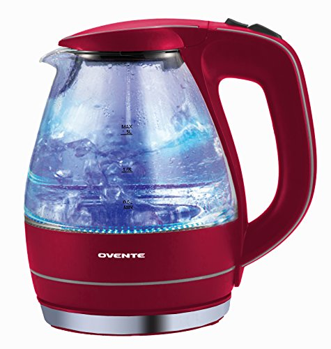 Ovente 1.5L Glass Electric Kettle, Red 電気ケトル