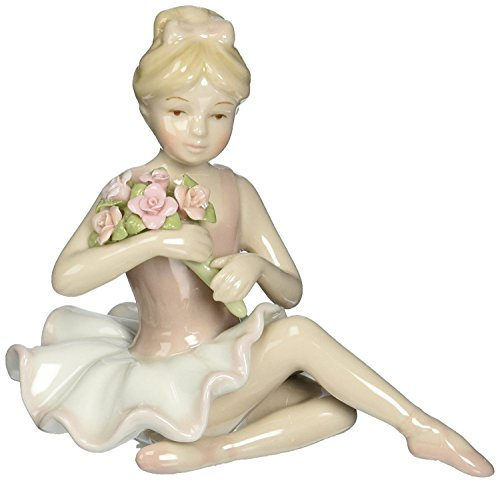 Cosmos 96535 Fine Porcelain Ballerina in Pink Dress Figurine, 4-1/2-Inch