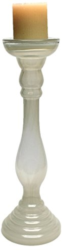 Design Toscano Imala 17-Inch Hand-Crafted Glass Candleholder, Large, White