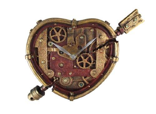 スチームパンク ハート型 壁掛け 時計