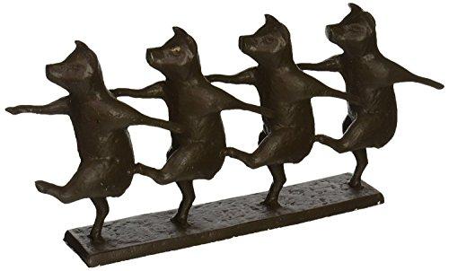 Design Toscano Dancing Pig Chorus Line Cast Iron Statue, Bronze