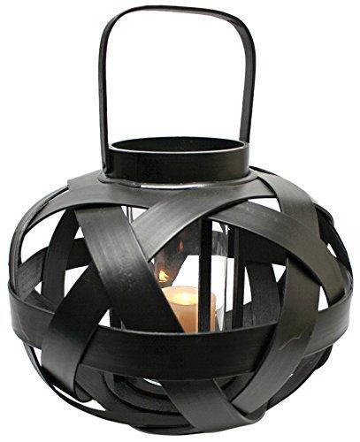 Design Toscano Hakan 8-Inch Rattan Lantern, Small, Black