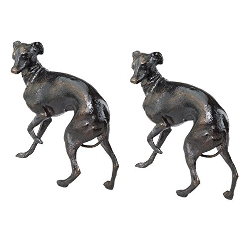 Design Toscano The Loyal Whippet Authentic Foundry Iron Casting - Set of Two