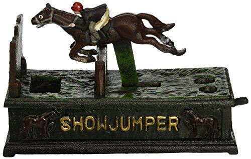 Design Toscano Equestrian Show Jumper Authentic Foundry Cast Iron Mechanical Bank by Design Toscan