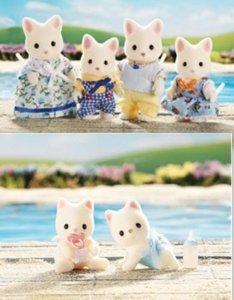 Calico Critters Silk Cat Family Twins 6 フィギュア Set