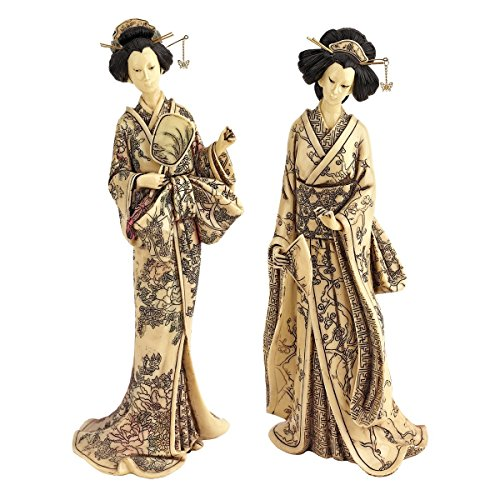 Design Toscano 2-Piece Japanese Okimono Geisha Statue Set in Faux Ivory