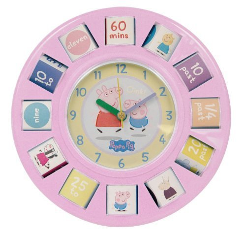 Peppa the Pig Time Teaching Clock Rotating Blocks Wall Bedside Clock by Genuine Peppa!