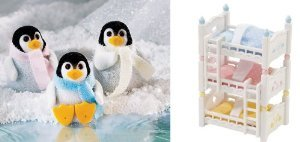 Calico Critters Fuzzy Penguin Triplets and Triple Baby Bunk Beds ドール 人形 フィギュア