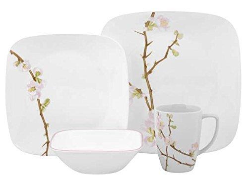 Corelle Cherry Blossom Square Dinnerware Set (Serves 4) 16pc, Multicolored