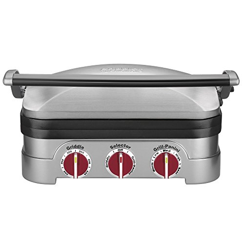 米アマゾン限定カラー Cuisinart GR-4NR 5-in-1 Griddler, Silver, Red Dials レッド(赤)