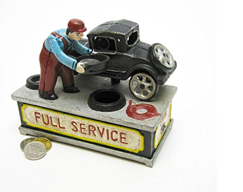 Design Toscano Model T at the Service Station Authentic Foundry Cast Iron Mechanical Bank