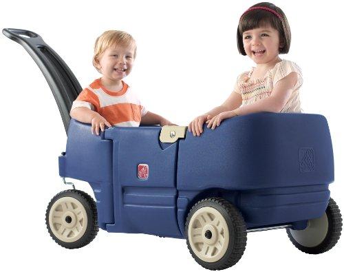 荷物も子供も楽しく運ぶ★2人用ワゴン ハードフレーム Step2社 ブルー