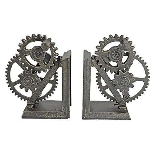 Design Toscano Industrial Gear Sculptural Iron Bookends