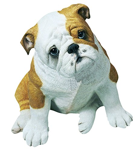 Sandicast Life Size Fawn Bulldog Puppy Sculpture, Sitting by Sandicast