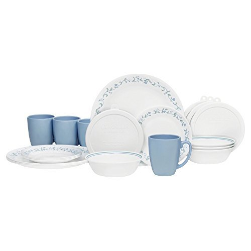 Corelle 20 Piece Livingware Dinnerware Set with Storage, Winter Frost White, Service for 4 by CORE