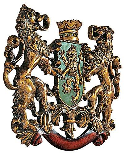 洋風壁彫刻 王家のライオン 紋章 彫像/ Heraldic Royal Lions Coat of Arms Wall Sculpture[