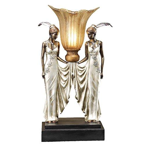 Design Toscano Art Deco Peacock Maidens Illuminated Statue