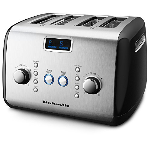 KitchenAid KMT423OB 4-Slice Toaster with One-Touch Lift/Lower and Digital Display - Onyx Black ト