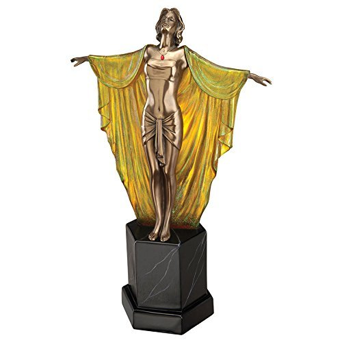 Design Toscano Majestic Maiden Art Deco Illuminated Sculpture, Multicolor
