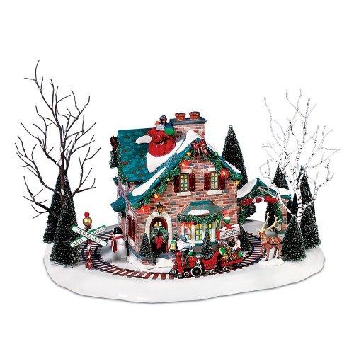 Department 56 サンタクロースが楽しむ クリスマスタウン 汽車&レンガの家