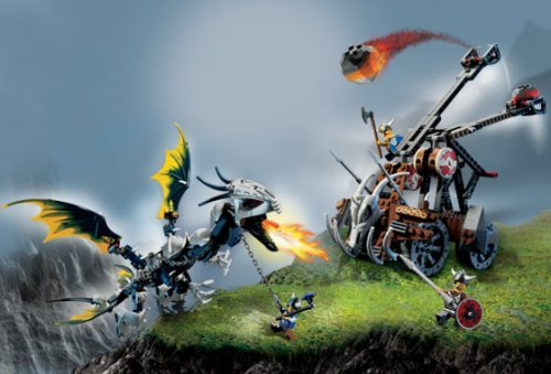 Lego Vikings Set #7021 Double Catapult Versus the Armored Ofnir Dragon by LEGO