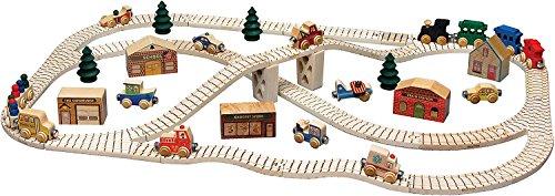【米国正規商品・】 木製おもちゃ Maple Landmark Wooden Toy Town Train Set -Kids メイプルランドマー