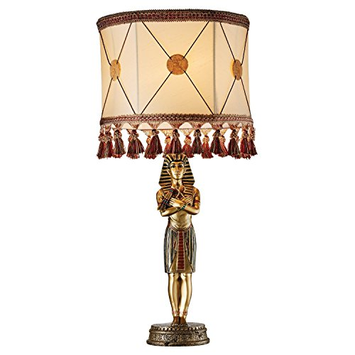 Design Toscano King Tutankhamen Sculptural Table Lamp, Full Color