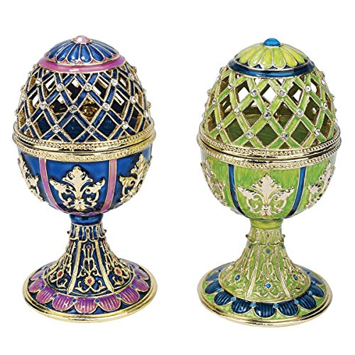 Design Toscano Jeweled Trellis Faberge-Style Enameled Egg Collection: Set of Two