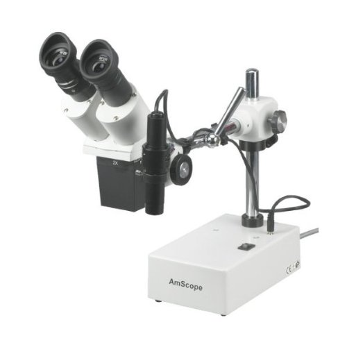 AmScope SE410X Professional Binocular Stereo Microscope, WF5x and WF10x Eyepieces, 5X and 10X Magn