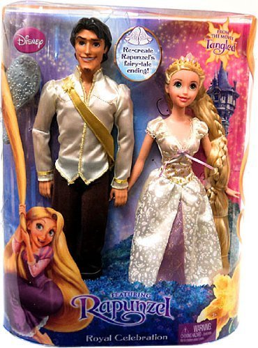 Disney Tangled Doll Figure 2Pack Set Royal Celebration Flynn Rider in White Shirt Rapunzel by Matt