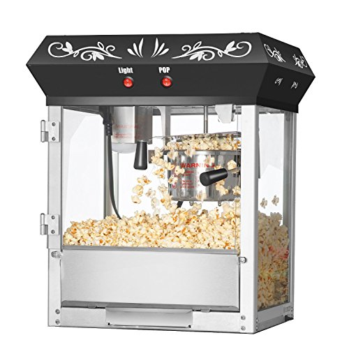 Great Northern Popcorn Black Foundation Antique Style Popcorn Popper Machine with 4-Ounce Kettle