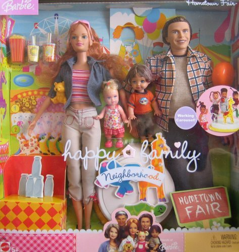 バービー Barbie Happy Family Neighborhood HOMETOWN FAIR 4 Doll Set w Working Carousel (2003) ドー