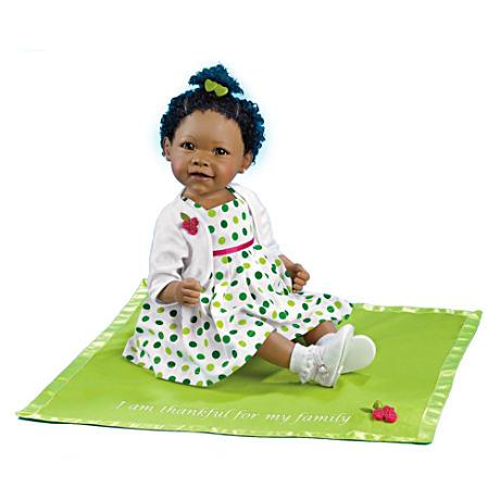 【アシュトンドレイク】Musical African-American Baby Doll And Blanket/赤ちゃん人形/ベビードール