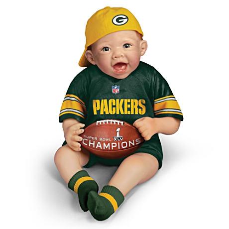 【アシュトンドレイク】NFL-Licensed Packers Baby Doll With Super Bowl XLV/赤ちゃん人形/ベビードール