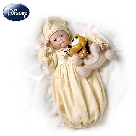 【アシュトンドレイク】Disney Dreamland Baby With Pluto Porcelain Doll/赤ちゃん人形/ベビードール