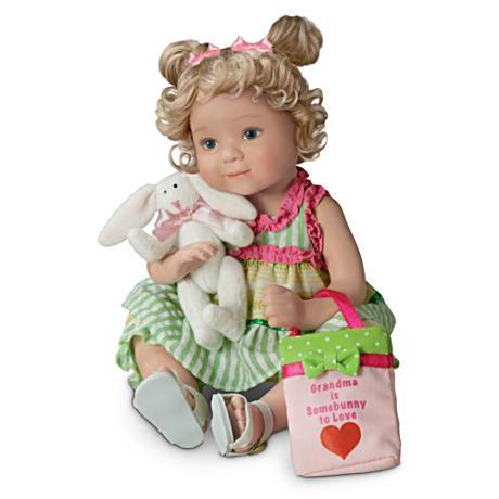 【アシュトンドレイク】Porcelain Granddaughter Doll With FREE Plush Bunny/赤ちゃん人形/ベビードール