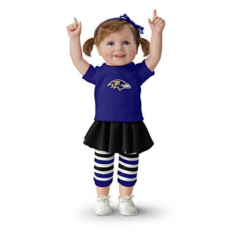 【アシュトンドレイク】NFL-Licensed Baltimore Ravens Fan Girl Doll/赤ちゃん人形/ベビードール
