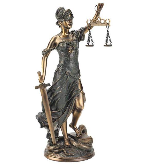 正義の女神テミス彫像; 法律の正義を象徴する彫像、ブロンズ風キャスト彫刻/ Goddess of Justice Themis