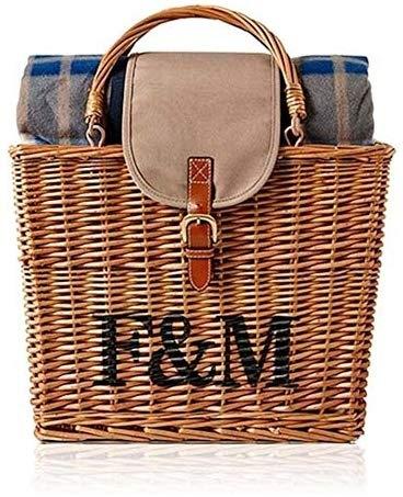 英国 Fortnum & Mason [フォートナム&メイソン] ラグ付き 保冷 ウィッカー ピクニック バスケット