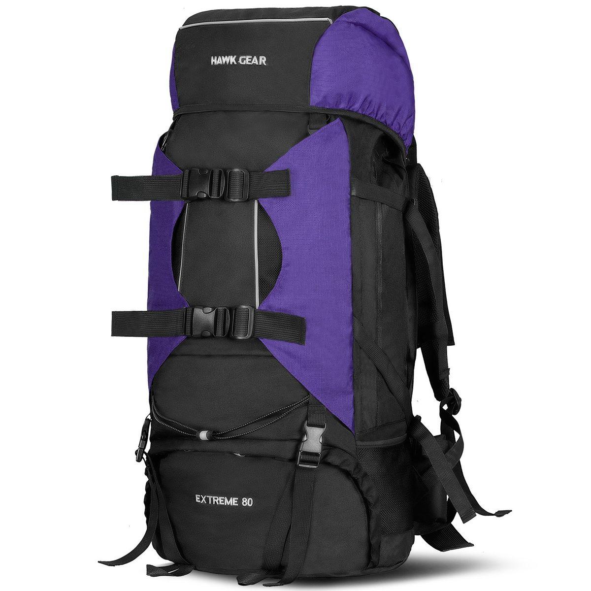 販売 HAWK GEAR ホークギア バックパック 80L 大容量 防水 アウトドア 防災 - 災害 旅行 purple 即納最大半額 登山