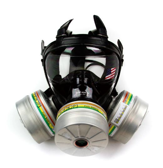 NBC緊急避難用マスク SGE400 防毒ガスマスク サリン対応 フルーフェイスタイプ フェルター1個付き 核放射性粉じん/ウイルス/細菌/緊急避難 用(同時フェルター3個着用可能)M/L成人男女